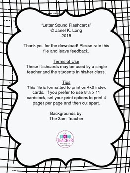 Letter Sound Flashcards - To Supplement Reading Mastery