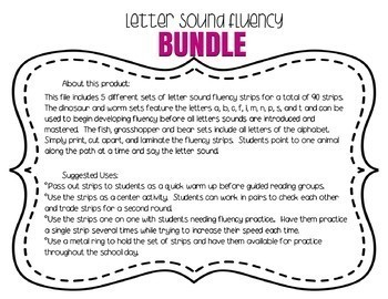 Letter Sound Fluency Quick Practice Strips - BUNDLE