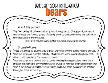 Letter Sound Fluency Quick Practice Strips - Bears