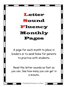 Letter Sound Fluency- Monthly Sheets