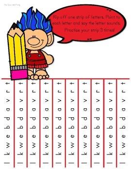 Letter Sound Fluency Tear Off Strips