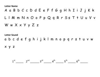 Letter & Sound Identification Recording Sheet