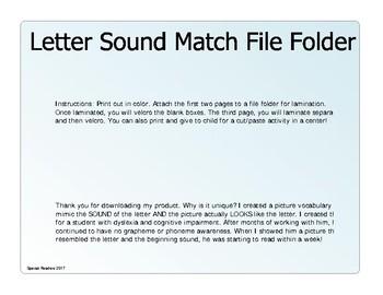 Letter Sound Match File Folder