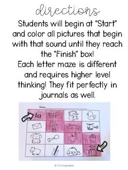 Letter Sound Mazes