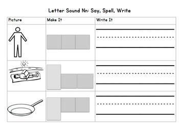 Letter Sound Nn: Say it, Build it, Write it