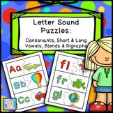 Alphabet Letters and Sounds Puzzles for Consonants Short & Long Vowels Blends