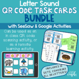 Letter Sound QR Code Task Cards with Distance Learning Opt