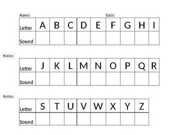 Letter Sound Recognition Table by Stay Weird | Teachers Pay Teachers