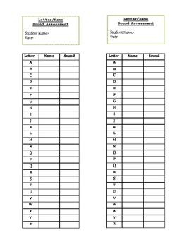 Letter/Sound Recording sheet