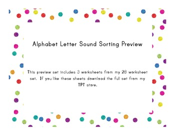 Letter Sound Sort - Isolate letter sounds in words - Freebie