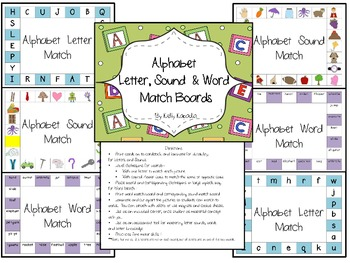 Letter, Sound and Word Clothespin Boards