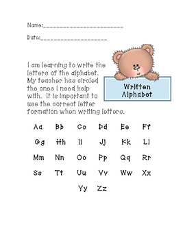 Letter Sound/Formation Parent note
