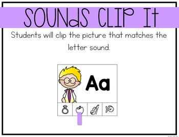 Letter Sounds Clip Cards