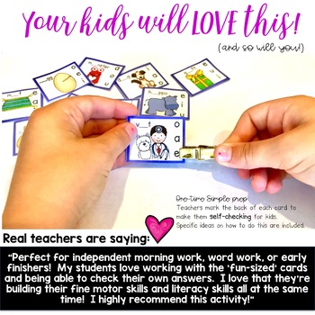 Letter Sounds Edition: Fun-Sized Clip & Flip Cards! Morning work, word work, etc