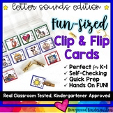 Letter Sounds :Fun-Sized Clip & Flip Cards . Morning Work . Word Work . Stations