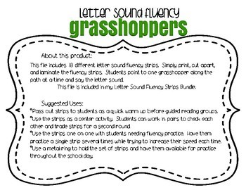 Letter Sound Fluency Grasshoppers