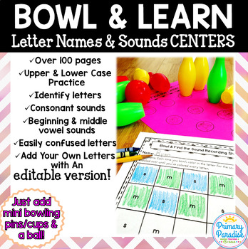 Letter Sounds & Identification Centers EDITABLE: Hands On Bowl & Learn