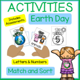 EARTH DAY Letter Sounds, Lower Case,  and Upper Case Matching