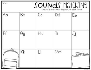 Alphabet Center: Letter Sounds Matching Center