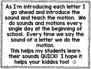 Letter Sounds Motions Freebie