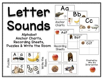 Letter Sounds:  Photograph Anchor Charts, Recording Sheets, & Puzzles