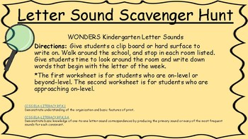 Letter Sounds Scavenger Hunt (for WONDERS curriculum)