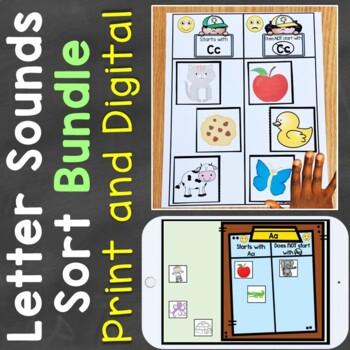 Letter Sounds Sort Bundle (Print & Digital) Learning Centers & Boom Cards