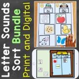 Letter Sounds Sort Bundle (Print & Digital) Learning Cente