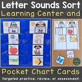 Letter Sounds Sort Learning Center & Pocket Chart Cards (B