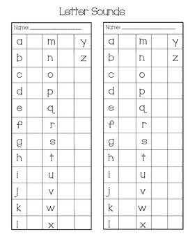 Letter Sounds Sticker Chart