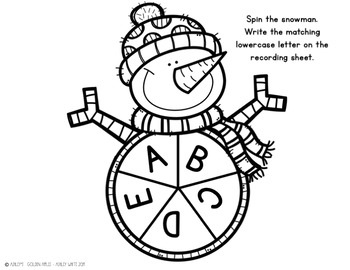 Letter Spin Activity - Snowman Spin B & W