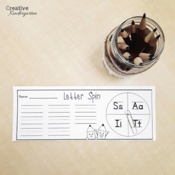 Letter Spin Literacy Activity for Kindergarten with EDITABLE version