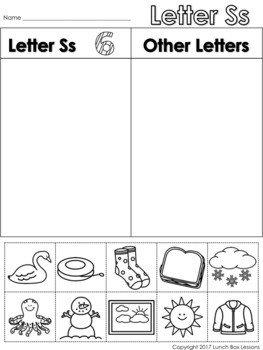 Letter Ss Beginning Sound Sort/Phonemic Awareness