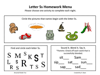 Letter Ss Homework Menu