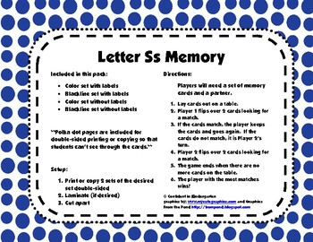 Letter Ss Memory Game