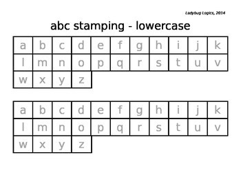 Letter Stamping - lowercase letters