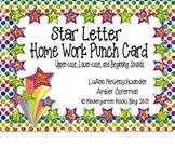 Star Letter Homework Punch Cards (Alphabet/Beginning Sounds)