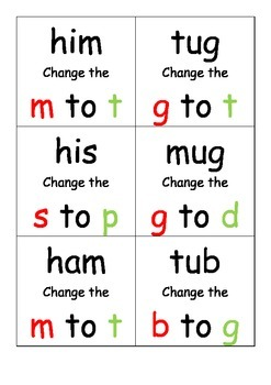 Letter Substitution Cards for CVC words(72 cards total)