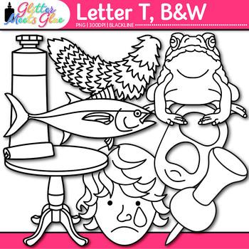 Letter T Alphabet Clip Art {Teach Phonics, Recognition, and Identification} B&W