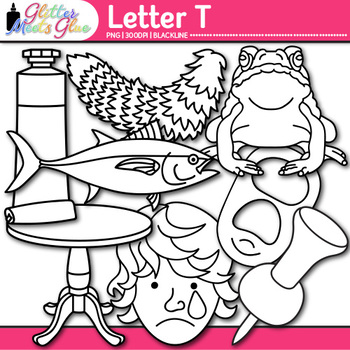 Letter T Alphabet Clip Art | Teach Phonics, Recognition, & Identification | B&W