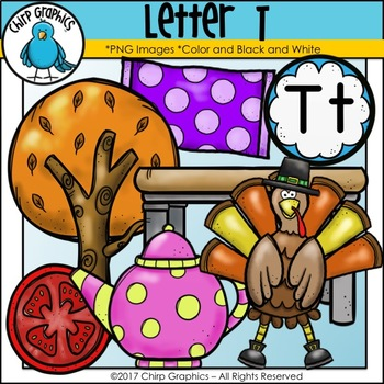 Letter T Alphabet Clip Art Set - Chirp Graphics