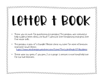 Letter T Book: Handwriting Practice