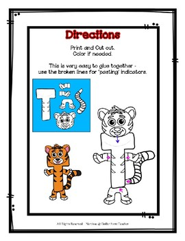 Letter T Craftivity - Tiger - Zoo Phonics Inspired - Color & BW Versions