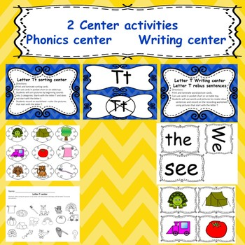 Letter T activities (emergent readers, word work worksheets, centers)