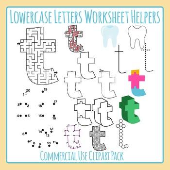 Letter T (Lowercase) Worksheet Helper Clip Art Set For Commercial Use