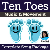 """Letter T/Number 10 Action Song   """"Ten Toes""""   Complete Song Package"""