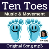 """Letter T/Number 10 Action Song   """"Ten Toes"""" by Lisa Gillam   Song mp3"""
