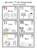 Letter 'T' Sign Language Concept Cards