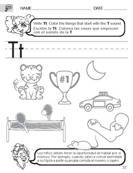 letter t sound worksheet with instructions translated into spanish for parents. Black Bedroom Furniture Sets. Home Design Ideas