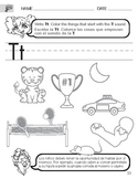 Letter T Sound worksheet with Instructions translated into